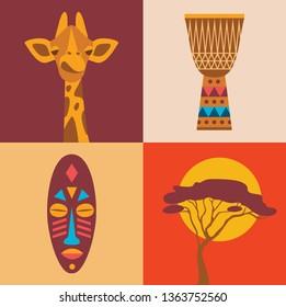 flat illustration, icon set of Africa: giraffe, drum, tribal mask tree