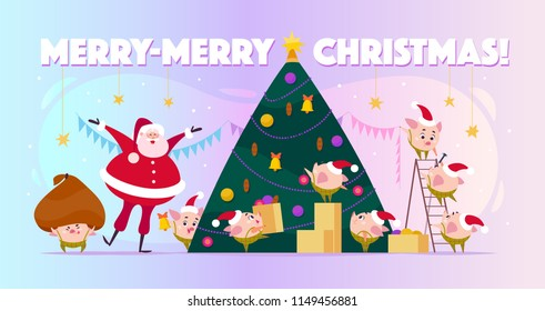 Flat illustration with Santa Claus laugh and little round pig elf in Santa hats decorating big Christmas tree, carry boxes and huge bad. Cartoon style. Perfect for cards, web, backgrounds etc.