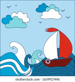 Flat illustration with the sea, boat and waves