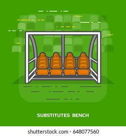 Flat illustration of soccer substitutes bench against green. Flat design of association football team shelter, front view. Illustration for soccer, sport game, football, championship, gameplay, etc