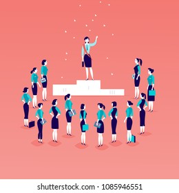 Flat illustration with successful business lady standing on podium in front of office women and business ladies crowd isolated. Gender equality, lady upwards. Success, respect,  - metaphor.
