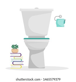 Flat illustration. Toilet with a roll of toilet paper on the wall. Stack of books. An isolated figure.