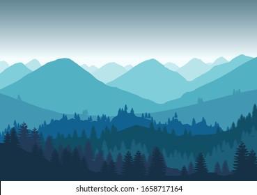 flat illustrations, Landscape flat design