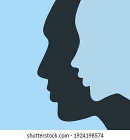 Flat image of silhouettes profile of a man and a woman on a neutral background