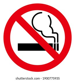 Flat image of a smoking cigarette in a crossed-out circle.  Isolated on white background. No smoking sign