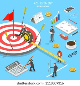Flat isometric concept of achievement evaluation, company performance, business target.