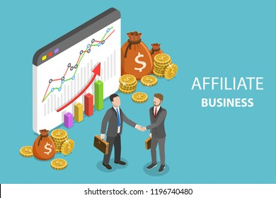 Flat isometric concept of affiliate business, marketing strategy, referral program, partnership.