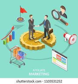 Flat isometric concept of affiliate marketing strategy, referral program, business partnership.