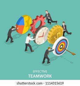 Flat isometric concept of effective teamwork, business team, brainstorm.