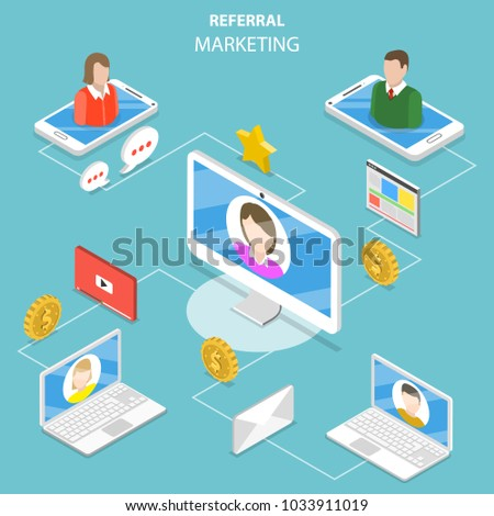 Flat isometric concept of network and affiliate marketing, referral program strategy, business partnership.
