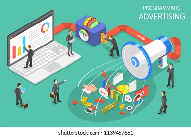Flat isometric concept of programmatic advertising, social media campaign.