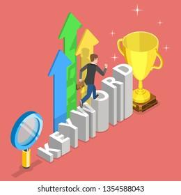 Flat isometric  concept of tracking tool for keyword SEO ranking, web analytics, website optimization marketing.