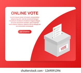 Flat isometric  concept voting online, e-voting, election internet system.  stock illustration.