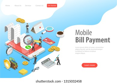 Flat isometric landing page template of online bill payment, shopping, banking, accounting.