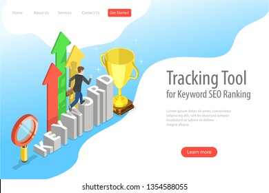 Flat isometric landing page template of tracking tool for keyword SEO ranking, web analytics, website optimization marketing.