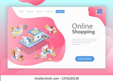 Flat isometric landing page template of easy shopping, e-commerce, online store, mobile payment, fast delivery.