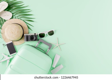 Flat lay Green suitcase with traveler accessories on green background. travel concept. 3d rendering
