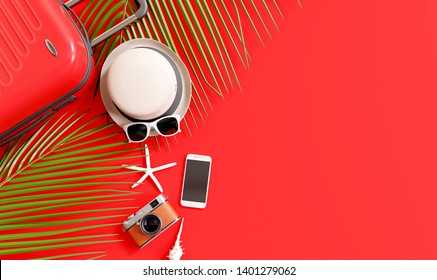 Flat lay red suitcase with traveler accessories and tropical palm leaves on red background. travel concept. 3d rendering