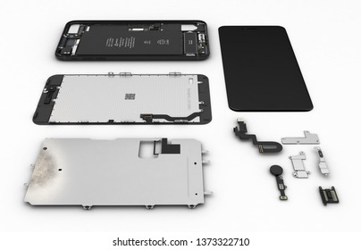 Flat Lay of smartphone components on white background 3d ilustration