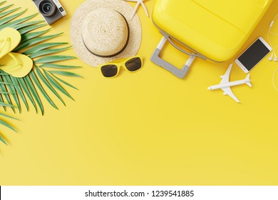 Flat lay yellow suitcase with traveler accessories and tropical palm leaves on yellow background. travel concept. 3d rendering