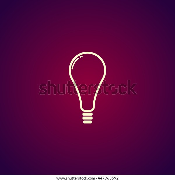 flat Lightbulb Icon. Flat design style