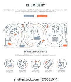 Flat line illustration of chemistry. Concept for web banners and printed materials. Template with buttons for website banner and landing page