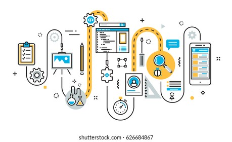 Flat line illustration concept of graph, plan, scheme, algorithm, step of mobile application development process, app design, programming, coding, building and debugging for website banner
