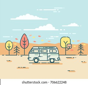 Flat line illustration with van on the road trip. Adventure and Travel concept