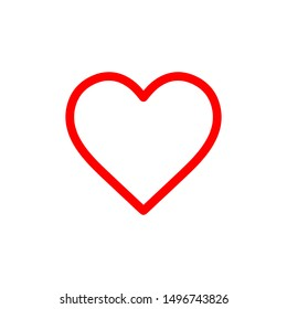 Flat line minimal heart icon. Simple raster heart icon. Isolated heart icon for various projects.
