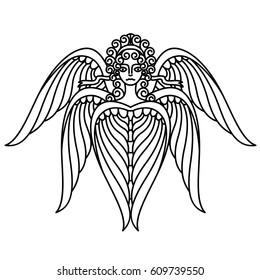 Flat linear seraphim illustration
