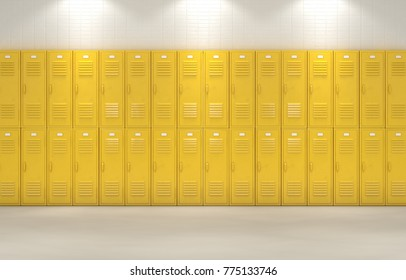 A flat look at a well lit stack of yellow lockers in a school hallway - 3D render