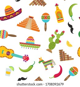 flat Mexico attributes pattern or background illustration