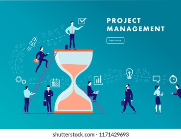 Flat minimalistic business illustration - project management, team work, time management, business communication, workflow. Business icons, office people - team success. Web banner, app, page.