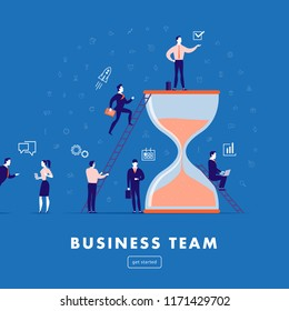 Flat minimalistic illustration - business team work, project management, business communication, workflow. Business icons, office people - team success. Web banner, mobile app, webpage concept.