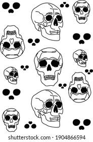 Flat and minimalistic illustration of skulls