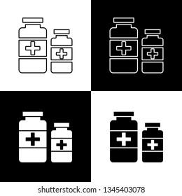 Flat monochrome medicine bottles symbol set for web sites and apps. Minimal simple black and white medicine bottles symbol set. Isolated medicine bottles symbol set for various projects.