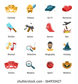 Flat movie genres icons