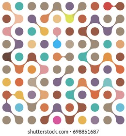 Flat multicolor molecules seamless pattern for textile, paper and web design