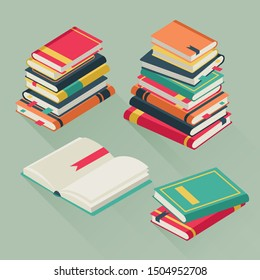 Flat pile books. Stacked textbooks, study literature history school library education teaching many lesson book stack illustration