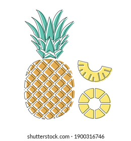 Flat pineapple design with outline
