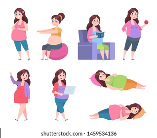 Flat pregnant woman. Healthy exercises for moms, pregnancy diet, happy young mom reading, sleeping and resting.  set
