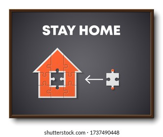 Flat Puzzle house Stay Home presentation. Stay Home puzzles 9 pieces kit banner. Infographic template