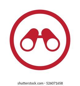 Flat red Binoculars icon in circle on white