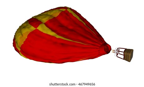 Flat red hot balloon isolated in white background - 3D render