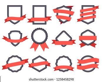 Flat ribbon banner badge. Genuine banners, badging frames with ribbons and circle insignia badges for logo design round genuine seal or sport competition winner medal flat  isolated symbol set