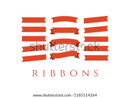 Flat Ribbons Banners Flat Banner Ribbon Stock Illustration