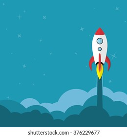 Flat rocket web icon. Start up concept.