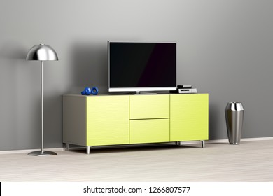 Flat screen tv on modern tv stand in the living room, 3D illustration