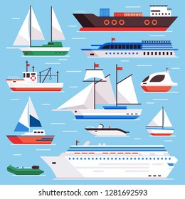 Flat sea ships. Marine shipping sailing boat, ocean cruise liner and icebreaker ship, sailboat yacht steamer and fishing boats on water harbor  isolated sign set