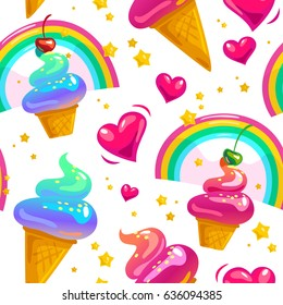 Flat seamless pattern with stars, rainbow, ice cream cone and heart isolated on white background. Cartoon style. Packaging paper design, children illustration.